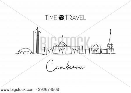 One Continuous Line Drawing Of Canberra City Skyline, Australia. Beautiful Landmark. World Landscape