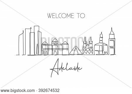 One Single Line Drawing Adelaide City Skyline, Australia. Historical Town Landscape. Best Holiday De
