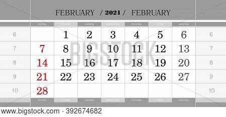 February 2021 Quarterly Calendar Block. Wall Calendar In English, Week Starts From Sunday. Vector Il