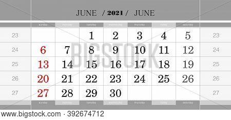 June 2021 Quarterly Calendar Block. Wall Calendar In English, Week Starts From Sunday. Vector Illust