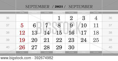 September 2021 Quarterly Calendar Block. Wall Calendar In English, Week Starts From Sunday. Vector I