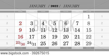 January 2022 Quarterly Calendar Block. Wall Calendar In English, Week Starts From Sunday. Vector Ill