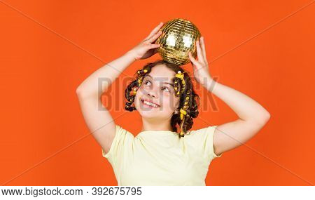 Retro Party. Child Hold Golden Disco Ball. Cheerful Girl With Disco Ball. Fashion Kid Posing With Cu