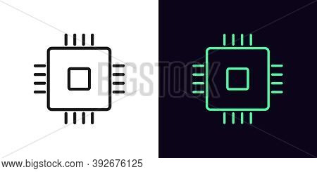 Outline Cpu Icon. Linear Microchip Sign, Isolated Computing Processor With Editable Stroke. Central