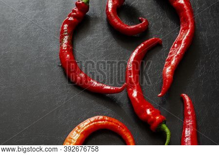 Pods Of Red Hot Chili Peppers On A Black Background. Freshly Plucked From The Farm Bed. New Crop Of