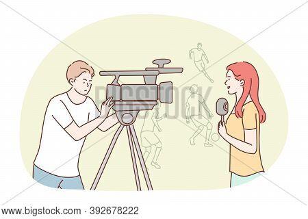 News, Reportage, Journalism, Sport, Interview, Mass Media Concept. Team Of Woman Reporter Journalist
