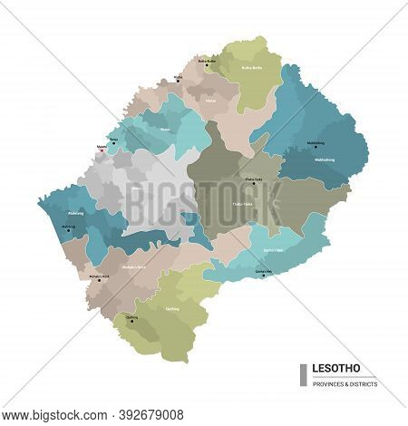 Lesotho Higt Detailed Map With Subdivisions. Administrative Map Of Lesotho With Districts And Cities