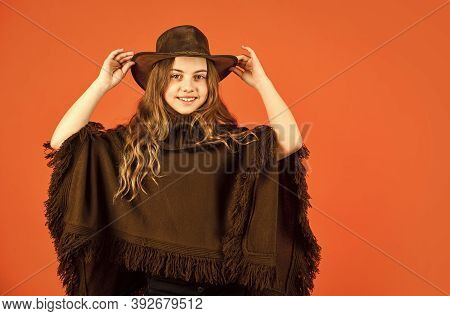 Wild West. Western Child. Western Soul. Cowboy Hat Adorable Girl. American Outfit. Rancho Culture. W