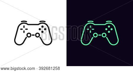 Outline Game Controller Icon. Linear Joystick Sign, Wireless Gamepad For Game Console With Editable