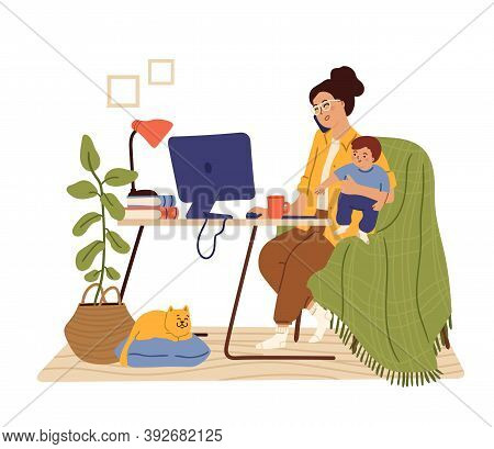 Mother Work From Home. Working Mom, Busy Freelancer Holding Baby. Woman Sitting Desk Talk Phone Swan