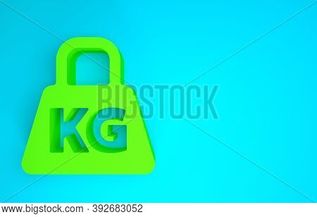 Green Weight Icon Isolated On Blue Background. Kilogram Weight Block For Weight Lifting And Scale. M