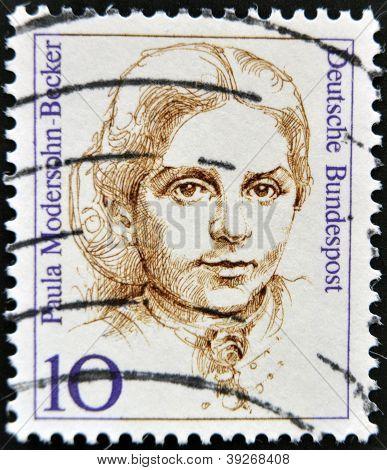 GERMANY - CIRCA 1988: A stamp printed in Germany shows Paula Modersohn-Becker Painter circa 1988