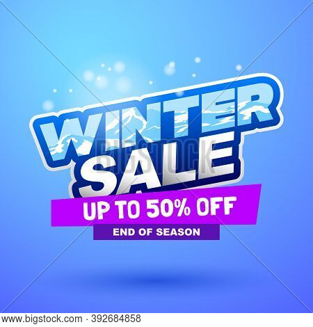 Winter Sale Special Offer Banner. Bright Creative Design. Happy And Funny Style. Can Be Use For Kids