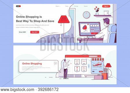 Online Shopping Landing Pages Set. Internet Marketplace, Store Platform Corporate Website. Flat Line