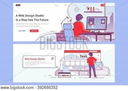 Web Design Studio Landing Pages Set. Creative Website Design, Prototyping And Usability. Flat Line V
