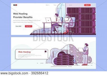Web Hosting Provider Landing Pages Set. Data Center, Cloud Storage Service Corporate Website. Flat L