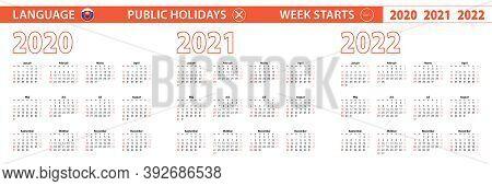 2020, 2021, 2022 Year Vector Calendar In Slovak Language, Week Starts On Sunday. Vector Calendar.