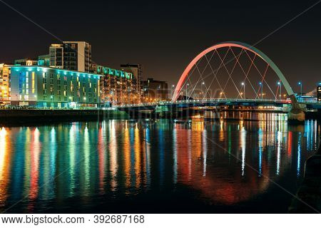 Glasgow city waterfront view at night in Scotland, United Kingdom