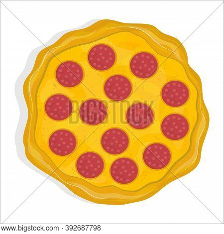 Pepperoni Pizza Isolated On A White Background. Dish From Italian Cuisine. Pizza With Cheese And Cri