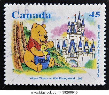CANADA - CIRCA 1996: stamp printed in Canada shows Winnie the Pooh at Walt Disney World circa 1996