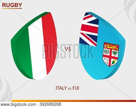 Italy V Fiji Rugby Match, Rugby Tournament. Vector Template.