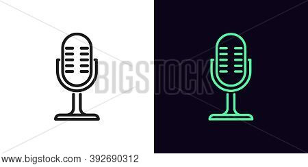 Outline Microphone Icon. Linear Mike Sign, Isolated Podcast Symbol With Editable Stroke. Recording D
