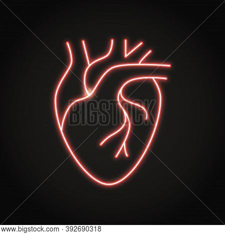 Neon Human Heart Icon In Line Style