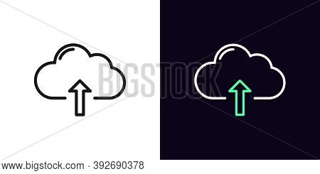 Outline Cloudy Upload Icon. Linear Cloud Storage Sign, Isolated Network Storage With Editable Stroke