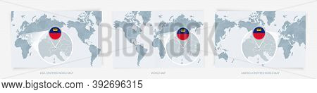 Three Versions Of The World Map With The Enlarged Map Of Liechtenstein With Flag. Europe, Asia, And