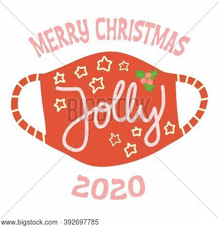 Merry Christmas Face Mask Greeting Card Vector Template. Square Format Coronavirus Christmas Holiday