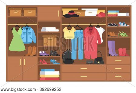 Wardrobe. Organization And Storage Clothing, Wooden Closet With Shelves, Stacks And Hangers With Clo
