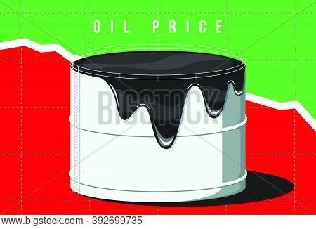 Overflowing Oil Storage Facility. Industrial Facilities Tank For Storage Oil Vector Illustration. Fa