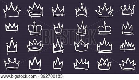 King Sketch Crown. Hand Drawn Doodle Crowns, White Accessories For Head On Dark Background, Queen, P