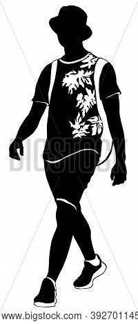 Silhouette Of A Young Man Walking In Summer Clothes With A Backpack Behind His Back - Vector Illustr