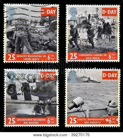 Großbritannien ca. 1994: Sammlung Briefmarken gedruckt in Großbritannien zum Gedenken an d Tag ca. 19