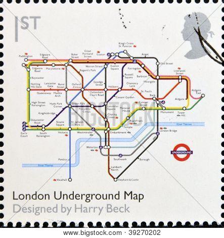 UNITED KINGDOM - CIRCA 2009: A stamp printed in Great Britain dedicates to Design Classics shows Lon