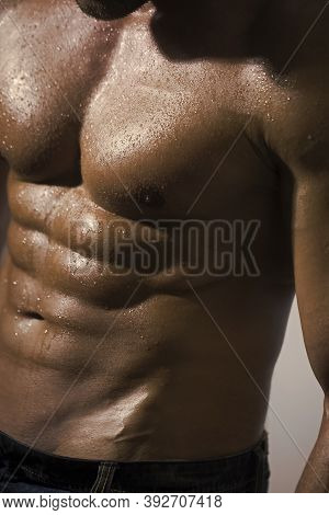 Bodybuilder Man With Perfect Abs, Shoulders, Biceps, Triceps And Chest, Personal Fitness Trainer.