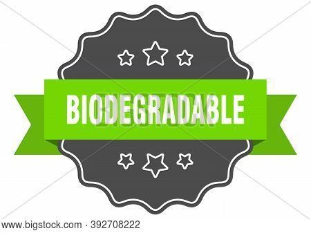 Biodegradable Label. Biodegradable Isolated Seal. Sticker. Sign