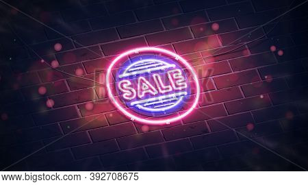Neon Sale Symbol On Dark Brick Wall Mockup Pink Light, 3d Rendering. Electric Round Signboard With S