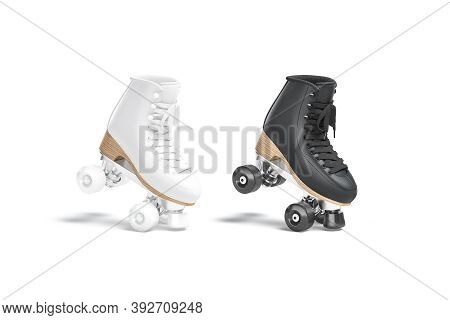 Blank Black And White Roller Skates Mockup Stand On Tiptoe, 3d Rendering. Empty Leather Retro Boot W
