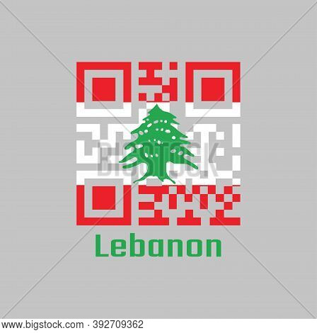 Qr Code Set The Color Of Lebanon Flag. It Is A Horizontal Triband Of Red And White, Charged With A G