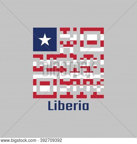 Qr Code Set The Color Of Liberia Flag. Eleven Horizontal Stripes Alternating Red And White; In The C