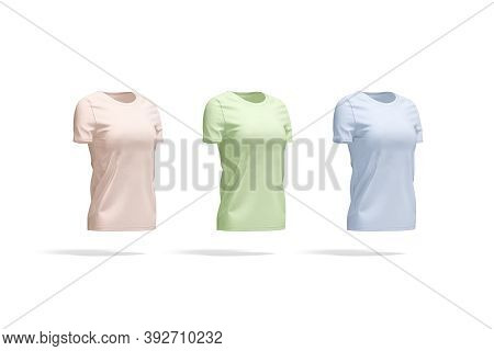 Blank Colored Women T-shirt Mockup, Side View, 3d Rendering. Empty Pink, Green And Blue Casual Tee-s