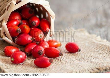 Fresh Ripe Rose Hips In Basket On Burlap Sack, Raw Briar Berries Or Dog Rose Fruits With Seed, Healt