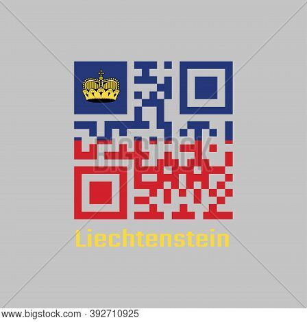 Qr Code Set The Color Of Liechtenstein Flag. Horizontal Bicolor Of Blue And Red, Charged With A Gold