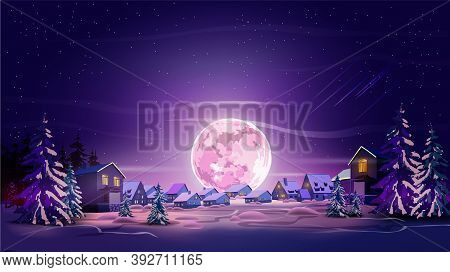 Night Beautiful Landscape With Winter City, Trees, Mountain And Moon. Shine With Purple Moon, Snow A