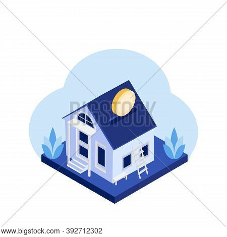 Vector Mortgage Loan Illustration. Mortgage Banner Template With House, Money, Golden Coins, Leaves.