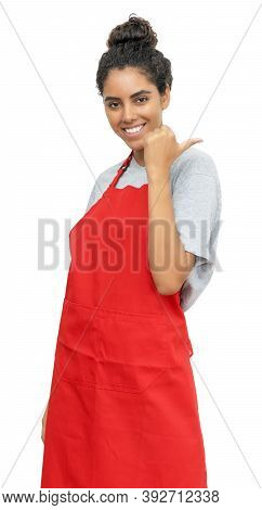 Motivated Brazilian Waitress Or Female Clerk Isolated On White Background For Cut Out