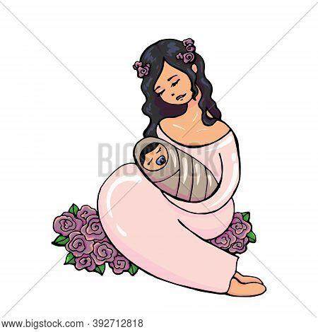 Gentle Vector Illustration Of A Cute Young Brunette In A Pink Dress With A Wreath On Head Embracing