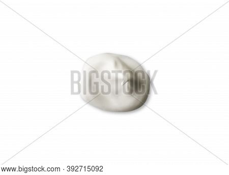 Color Corrector Strokes Isolated On White Background. White Cream Smudge Smear Swatch Sample. Makeup